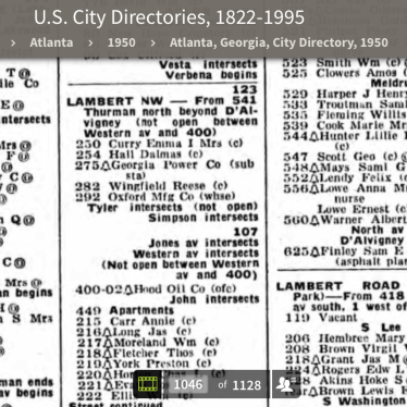 1950 City Directory - 292 Lambert